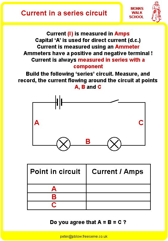 {Current in a Series Circuit Worksheet physicsinfo – Series Circuit Worksheet